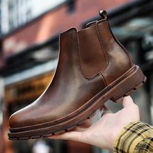 Men Shoes Short-Boots Chelsea Male Genuine-Leather Business-Dress Designer Oxford Brand