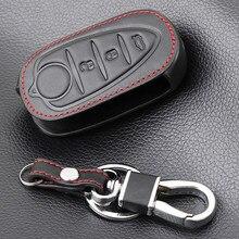 3 botões de couro genuíno flip caso chave do automóvel fob capa para alfa romeo mito giulietta 159 gta chaves dobráveis chaveiro