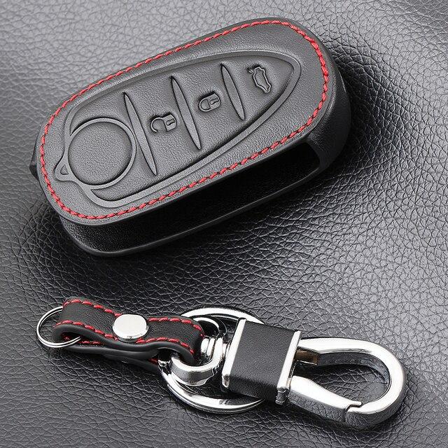 3 Buttons Genuine Leather Flip Auto Key Case Fob Cover For Alfa Romeo Mito Giulietta 159 Gta Folding Keys keychain