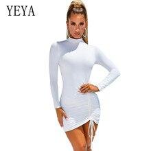 цена на YEYA Long Sleeve O Neck High Waist Bandage Sexy Mini Dress Elegant Pleated Lace-up Women Black White Basic Bodycon Dress Robes