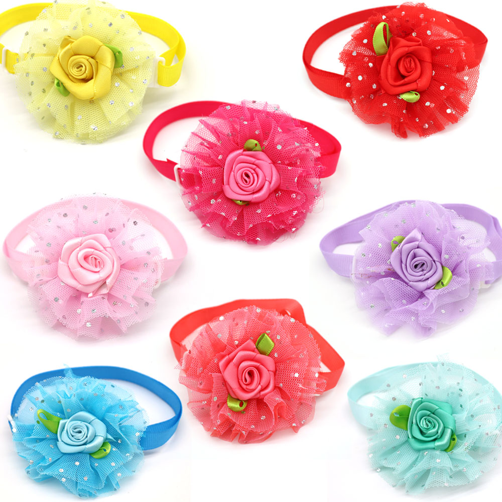 10pcs Valentine's Day Pet Supplies Lace Rose Love Style Pet Cat Dog Collar Bowties Neckties Pet Cat Holiday Grooming Products