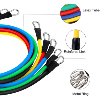 12Pcs Rubber Resistance Bands Sport Elastic Fitness Bands for Sports Bodybuilding Gym Accessories Portable Equipment 100LBS Tape 3