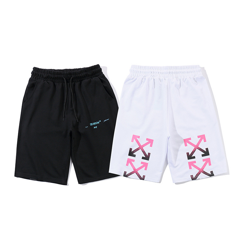 Europe And America Popular Brand Off Ow White Color Powder Arrowhead Printed Men And Women Shorts