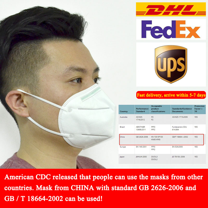 20pcs KN95 Mask With China Standard GB 2626-2006 DHL/FEDEX/UPS Fast Delivery Anti PM2.5 Anti Influenza Safety Masks N95