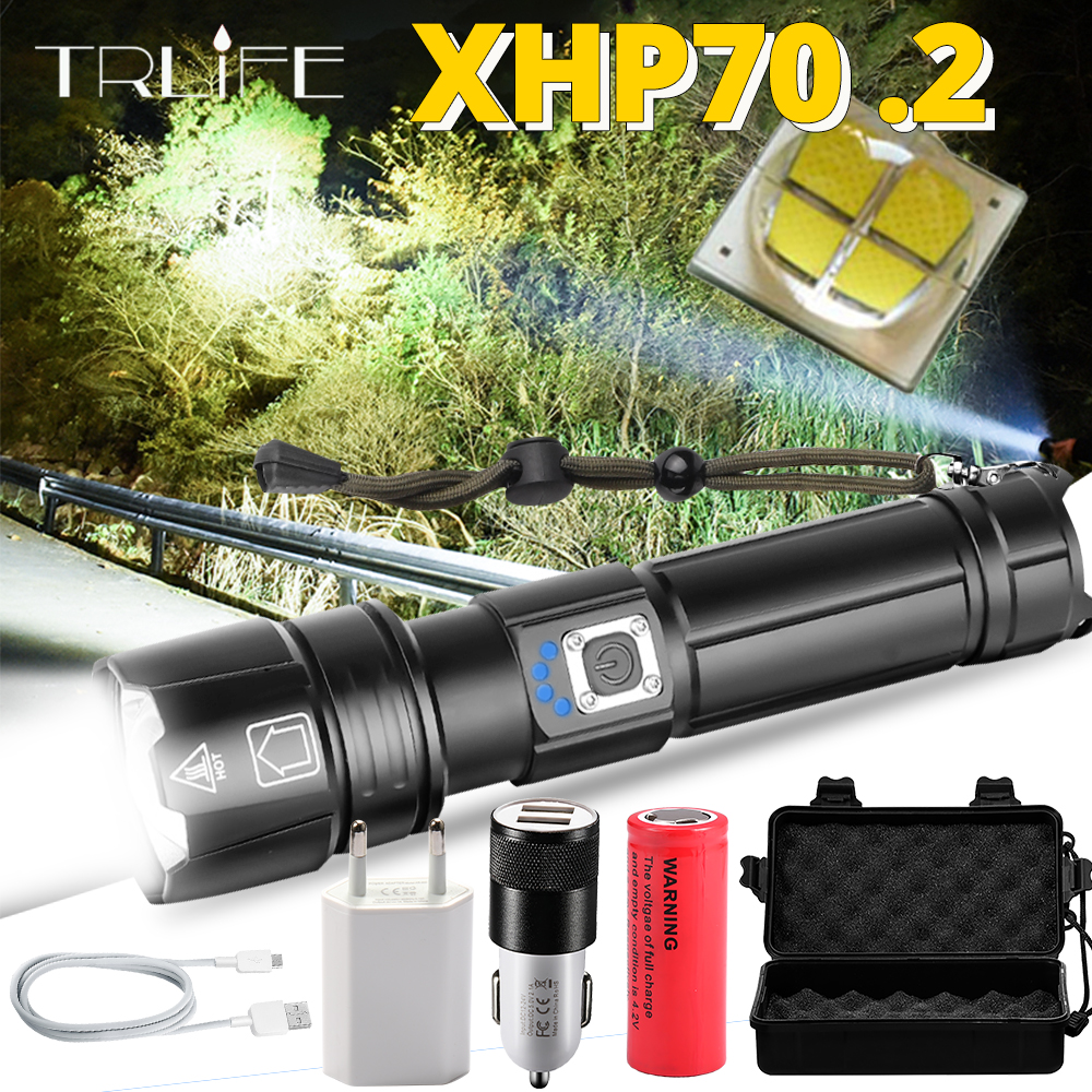 Portable Ultra Powerful XHP70 LED <font><b>Flashlight</b></font> <font><b>18650</b></font> <font><b>Flashlight</b></font> XLamp XHP50 USB Rechargeable Tactical Light 26650 Zoom Torch image