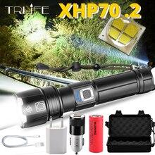 Tragbare Ultra Leistungsstarke XHP70 LED Taschenlampe 18650 Taschenlampe XLamp XHP50 USB Aufladbare Taktische Licht 26650 Zoom Taschenlampe