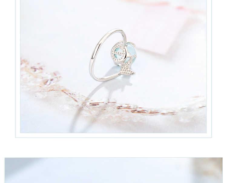 รักแหวน Mermaid Bubble แหวนเงินเปิดสีฟ้าคริสตัลแหวนผู้หญิงผู้หญิงของขวัญเครื่องประดับปรับขนาดแหวน