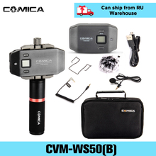 Comica CVM WS50(B) 무선 Lavalier 마이크 iphone 카메라 DSLR 스마트 폰 안드로이드에 대한 핸들 그립과 외부 옷깃 마이크