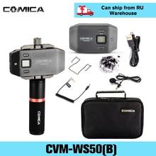 Comica CVM WS50(B) Wireless Lavalier ไมโครโฟนภายนอกไมโครโฟนพร้อม Handle Grip สำหรับ iPhone กล้อง DSLR สมาร์ทโฟน Android
