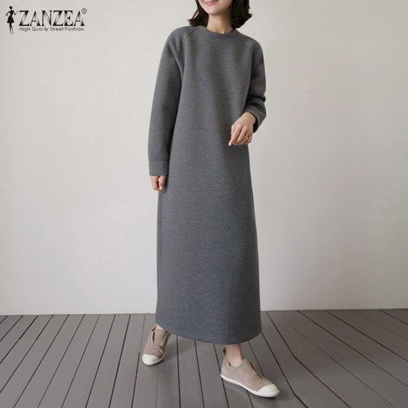 Women Mid-calf Dress 2020 Autumn Long Sleeve Robe Longue ZANZEA Ladies Fashion Style Vestidos Casual Solid Sundress Oversize 5XL