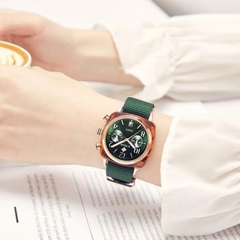 WWOOR Fashion Women Quartz Watch Nylon Business Date Clock Green Casual Sport Wristwatch Thanksgiving Christmas Gift Female+Boxs
