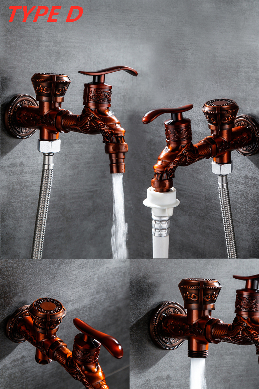 Doodii Carved Wall Mount Zinc Alloy Antique Bibcock Garden Wash Basin Faucet Decorative Outdoor Garden Mop Taps Torneira parede10