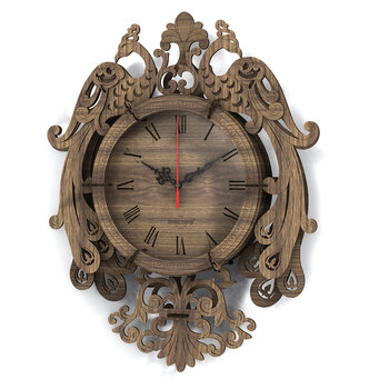 33pcs-diy-wooden-clock-puzzle-model-kit-laser-cutting-3d-peafowl-wall-clock-stem-toy-gift-for-8-black-walnut-color