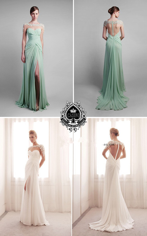 Vestidos Long Sleeve Design Floor Length 2018 Sexy Backless Lace Appliques Chiffon Formal Party Prom Gown Bridesmaid Dresses
