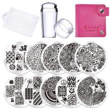 Nagel Platten Designs 10Pcs Nagel Stanzen Platten Polnischen Schablonen Für Nägel Vorlage Fall Klar Schaber Stamper Nail art Set kits