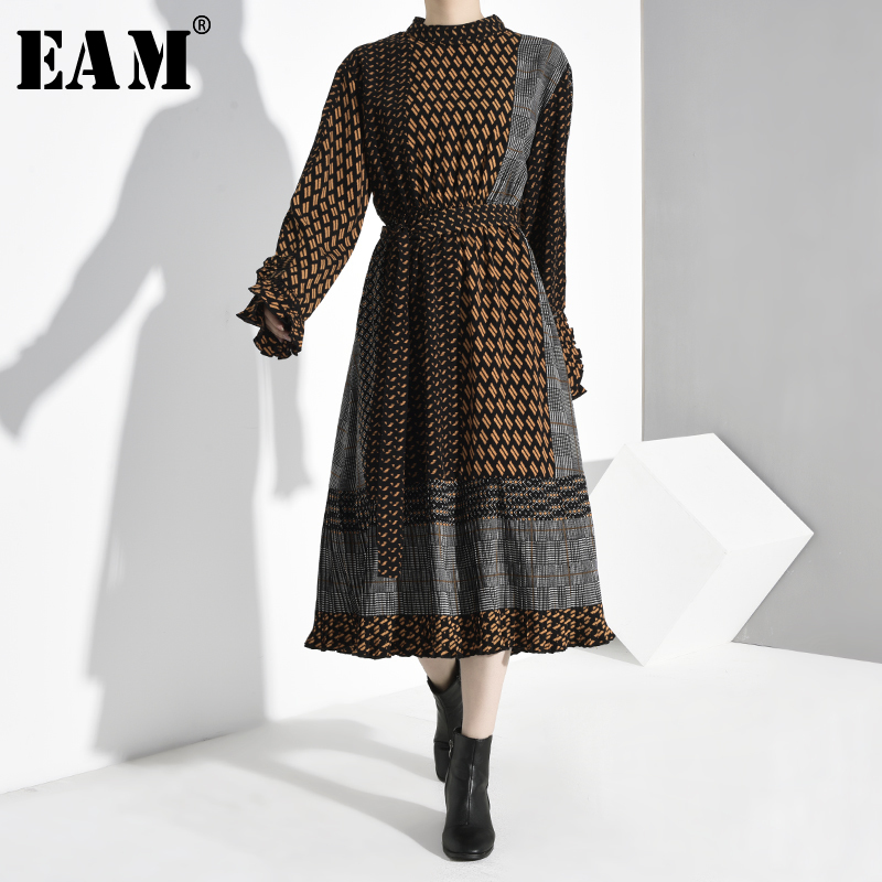 [EAM] Women Pattern Print Bandage Temperament Dress New Stand Collar Long Sleeve Loose Fit Fashion Spring Autumn 2020 1B7290