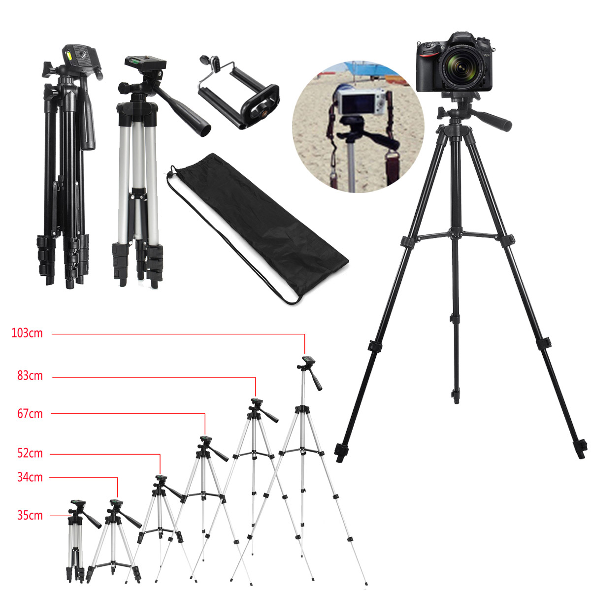 36-100 cm Extendable Mobile Smart Phone Digital Camera Tripod Stand Mount Holder Clip Set For Nikon for Canon for iPhone XS MAS
