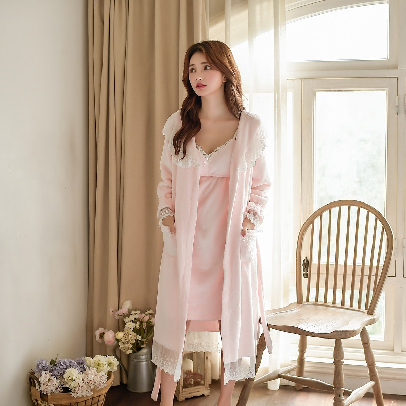 Winter Warm Thick Velvet 2 Pieces Women's Robe Sets Long Sleeve Bathrobe Female Loose Sleepwear Home Clothes 59