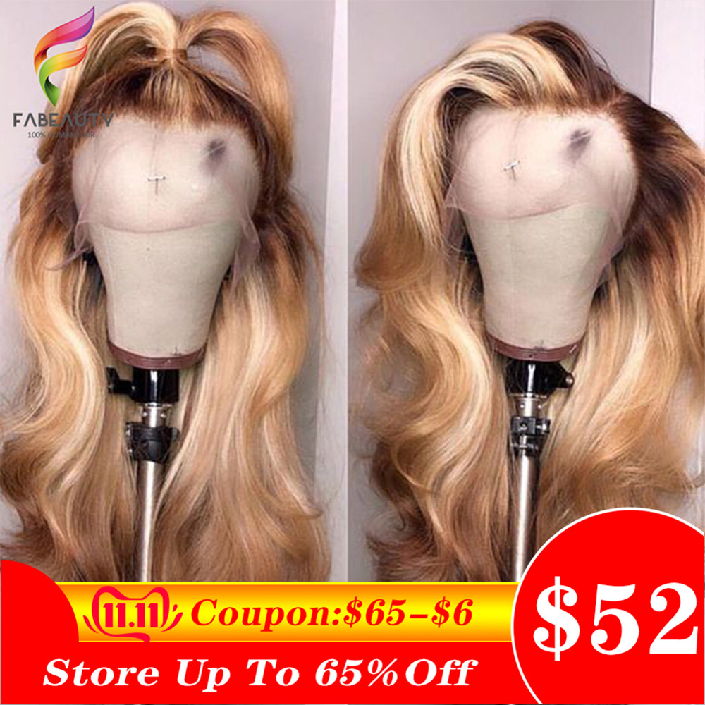 Ombre Blonde Lace Front Human Hair Wig 150% Brazilian Wavy 13*4 Lace Wigs Pre Plucked 4/27 Honey Blonde Remy Wig