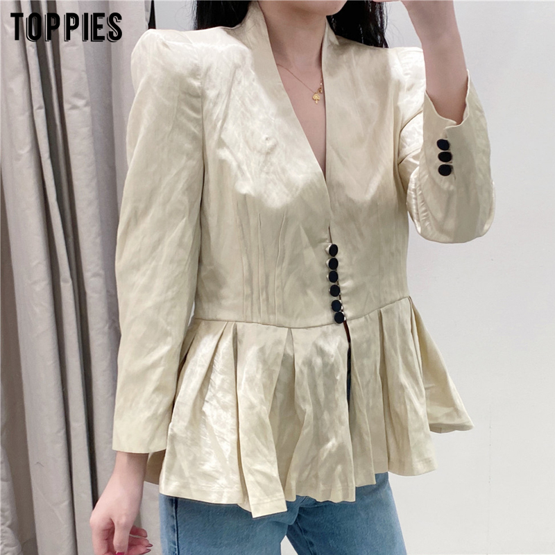 2020 women peplum shirt jacket a-line hem women coat summer ladies thin jacket long sleeve