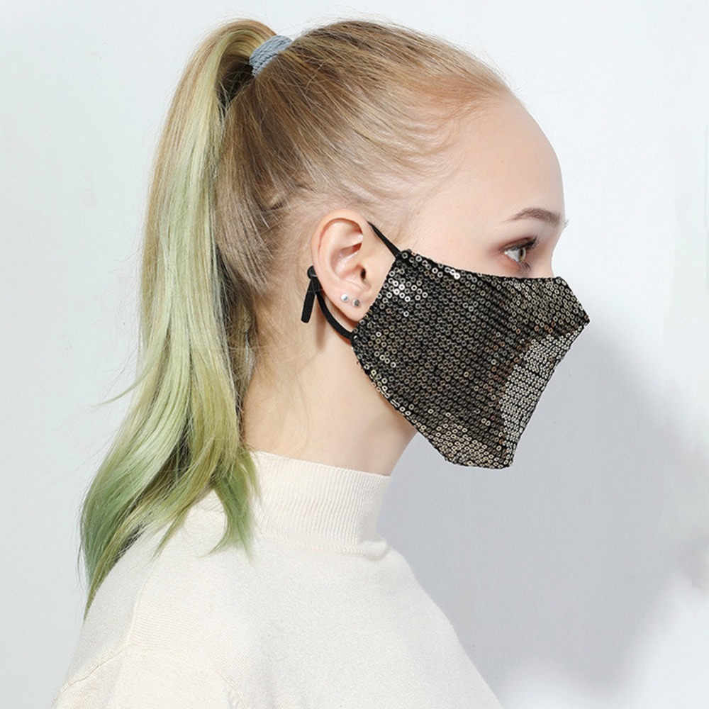 Women Fashion Mouth Mask Cotton Anti Dust Anti Haze Washable Reusable Glittering Face Mask with Paillette