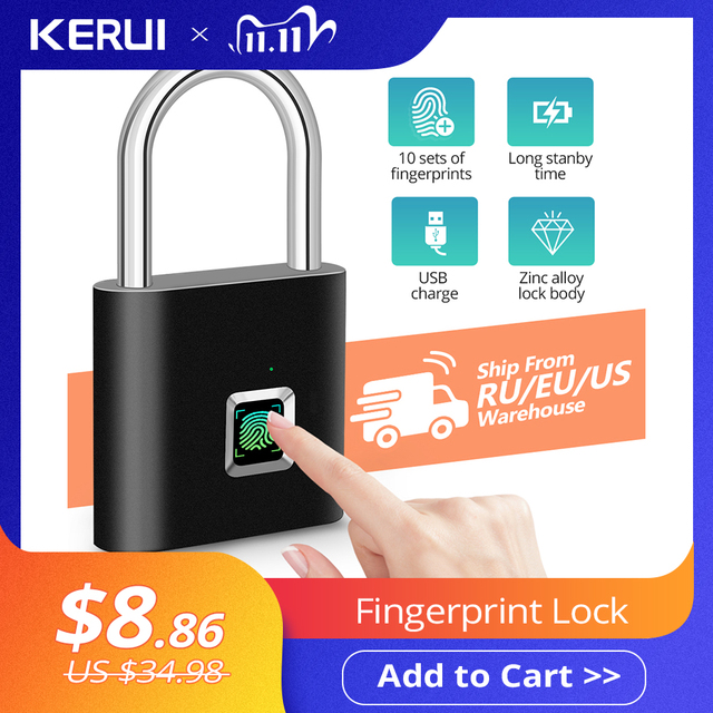 KERUIกันน้ำUSBชาร์จลายนิ้วมือล็อคกุญแจสมาร์ทล็อคลายนิ้วมือ0.1secปลดล็อคแบบพกพาAnti Theftล็อคลายนิ้วมือ