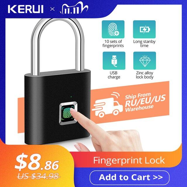 KERUI Waterproof USB Charging Fingerprint Lock Smart Padlock Fingerprint lock 0.1sec Unlock Portable Anti theft Fingerprint Lock