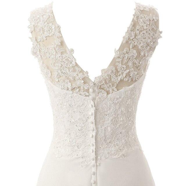 New Romantic Summer Bridal Dress Fluid feel Chiffon Sleeveless Lace Deep V-Neck Adjustable Plus Size Wedding Dress 6