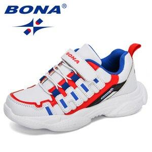 BONA 2020 nowi projektanci wiosna jesień dziecięce trampki syntetyczne zewnątrz maluch obuwie codzienne chłopcy nastoletnich trenerów dziewcząt