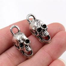 29x12x16mm 3 pçs antigo prata chapeado cabeça do crânio encantos artesanais pingente: diy para pulseira necklace-R4-35