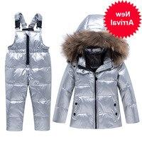 Fur parka real boy baby girl winter thin down jacket warm kids coat children ski snowsuit clothes Silver waterproof clothing Set