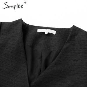 Image 4 - Simplee Sreetwear V hals Blazer Jurk Elegante Bladerdeeg Mouw Boog Korte Party Dress Office Dames Chic Solid Black Herfst Werk Jurk