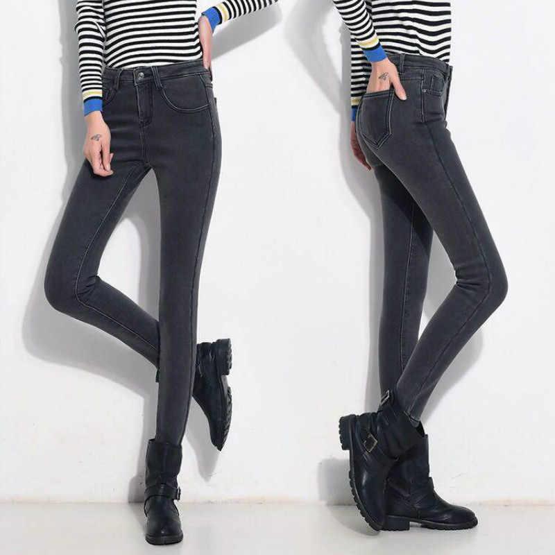 Winter Hoge Taille Jeans Vrouwen Dikke Warme Stretch Skinny Potlood Broek Vrouwelijke Eenvoudige Casual Zwart Plus Size Broek