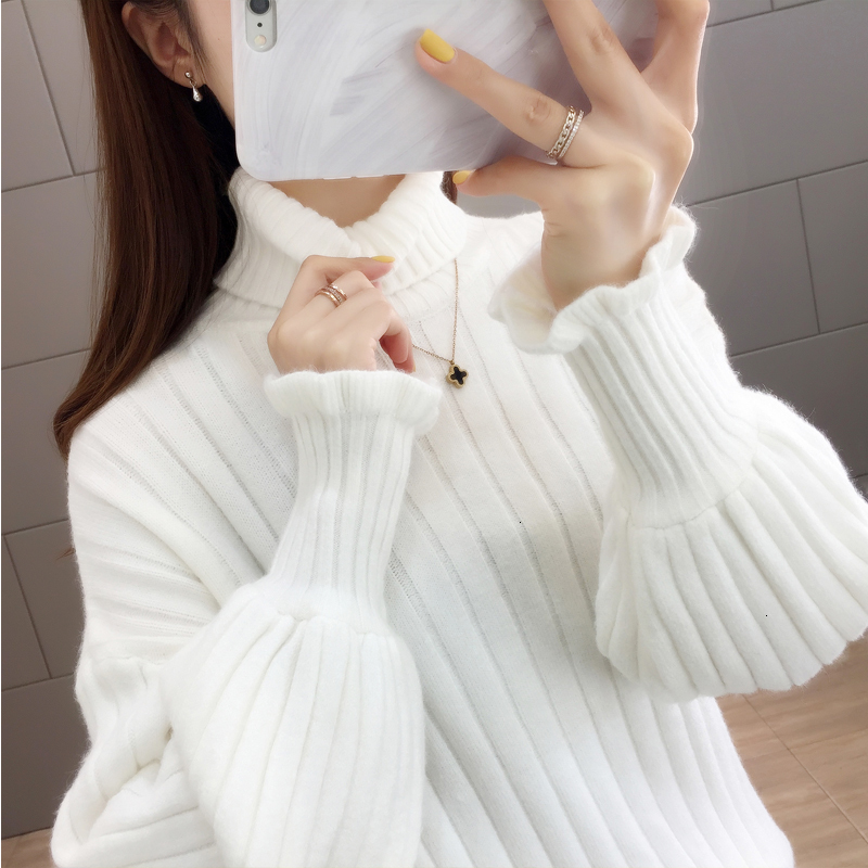 Turtleneck Warm Thick Solid Winter Pull Femme Knitted Sweater Pullover New 2019 Loose  Sueter Mujer Female Jumper Women