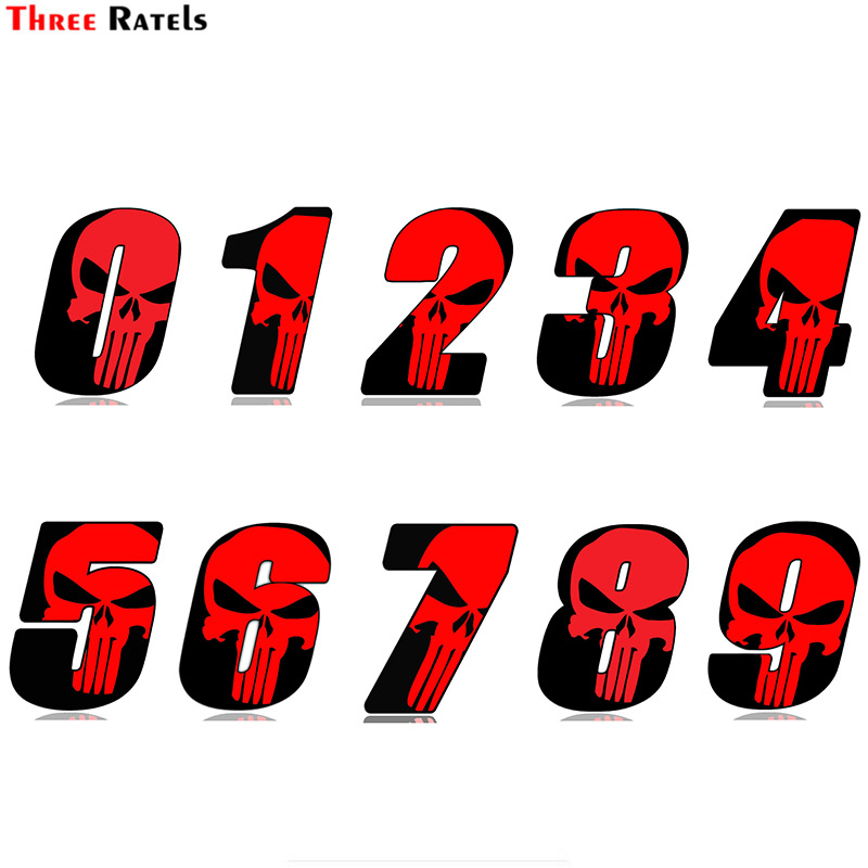 Three Ratels FTC-716# Racing Number Skull Motorcycle Car Sticker Decal
