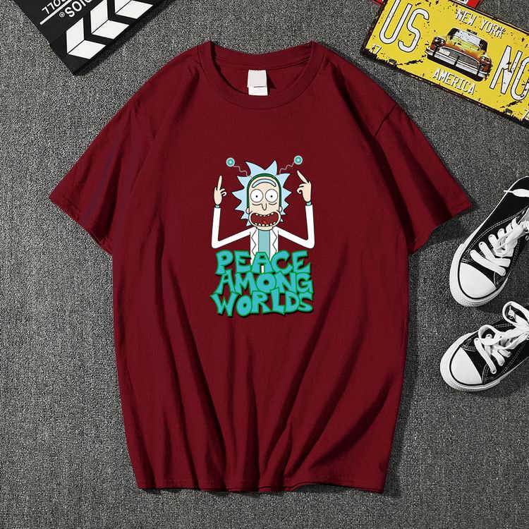 남자의 고품질 t-셔츠 반팔면 crewneck 느슨한 릭과 morty 인쇄 된 남자 tshirt 캐주얼 하라주쿠 망 t-셔츠