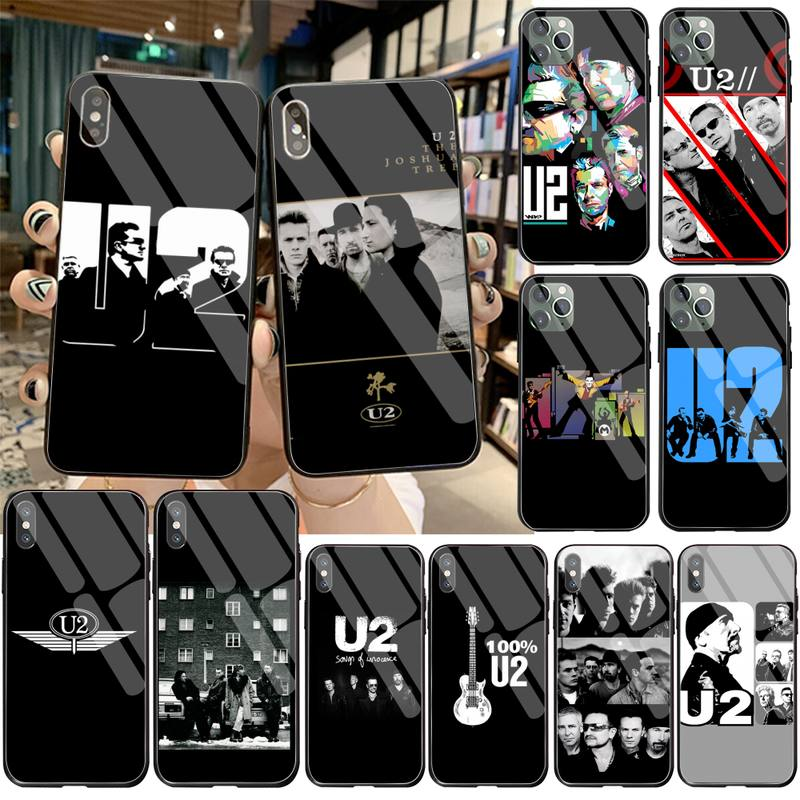 YJZFDYRM bono U2 Band Cover Black Soft Shell Phone Case Tempered Glass For iPhone 11 Pro XR XS MAX 8 X 7 6S 6 Plus SE 2020 case image