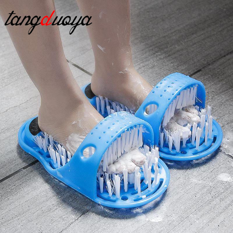Plastic Bath Shoe Pumice Stone Foot Scrubber Shower Brush Massager Slippers For Feet Bathroom Products Foot Care Blue