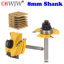 """2PC 8mm&1/4"""" Shank 6 Piece Slot Cutter 3 Wing Router Bit Set Woodworking Chisel Cutter Tool Tenon Cutter for Woodworking Tool"""