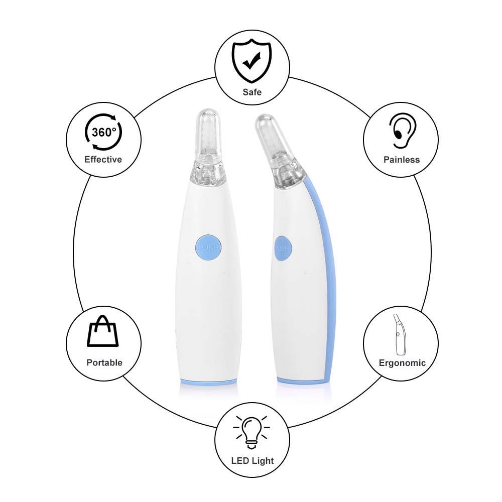 Bottle - Ear Wax Cleaner Painless Powered Safety Cordless Electric Cleaning Tool with 4 Removable Silicone Nozzle Head for Babies Adults