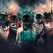 Маска на Хэллоуин, светодиодный светильник, Вечерние Маски, неоновая маска для косплея, тушь для ресниц, страшные маски, светящиеся в темноте, маска V для вендетты