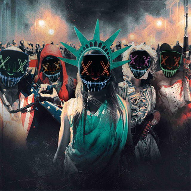 Halloween Mask LED Maske Light Up Party Masks Neon Maska Cosplay Mascara Horror Mascarillas Glow In Dark Masque V for Vendetta