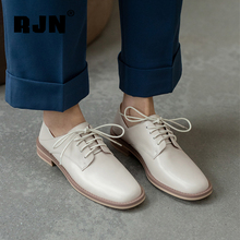 RJN Women's Flat 2021 Spring Casual Fashion Round Toe Lace-up Ladies Shoes High-Quality Cow Leather Office Oxfords Shoes RO793