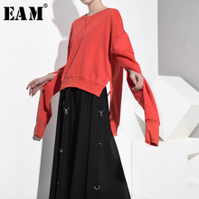 [EAM] Loose Fit Black Asymmetrical Hollow Out Sweatshirt New Round Neck Long Sleeve Women Big Size Fashion Autumn 2019 JO2840