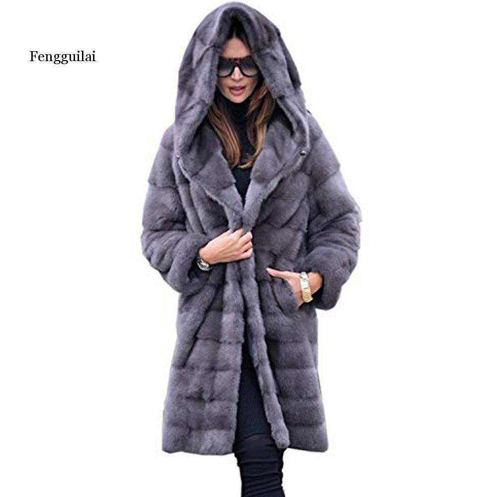 New Fashion Warm Artificial  Fur Winter Coat For Women With Hoods Artificial Full Pelt Fur Luxury Jackets Black Overcoat Trench