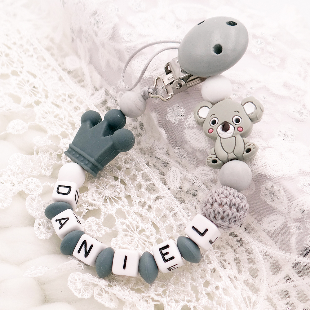 Personalized Name Silicone Nipple Dummy Holder Baby Pacifier Clip Porta Chupeta Dummy Chain Custom Name Silicone Pacifier Koala