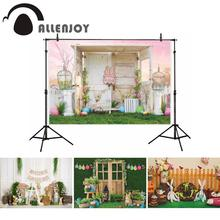 Allenjoy wielkanocne tło wiosna dziecko noworodka drewniany dom królik trawnik fotografia imprezowa tło dekoracyjne photo studio fotobudka