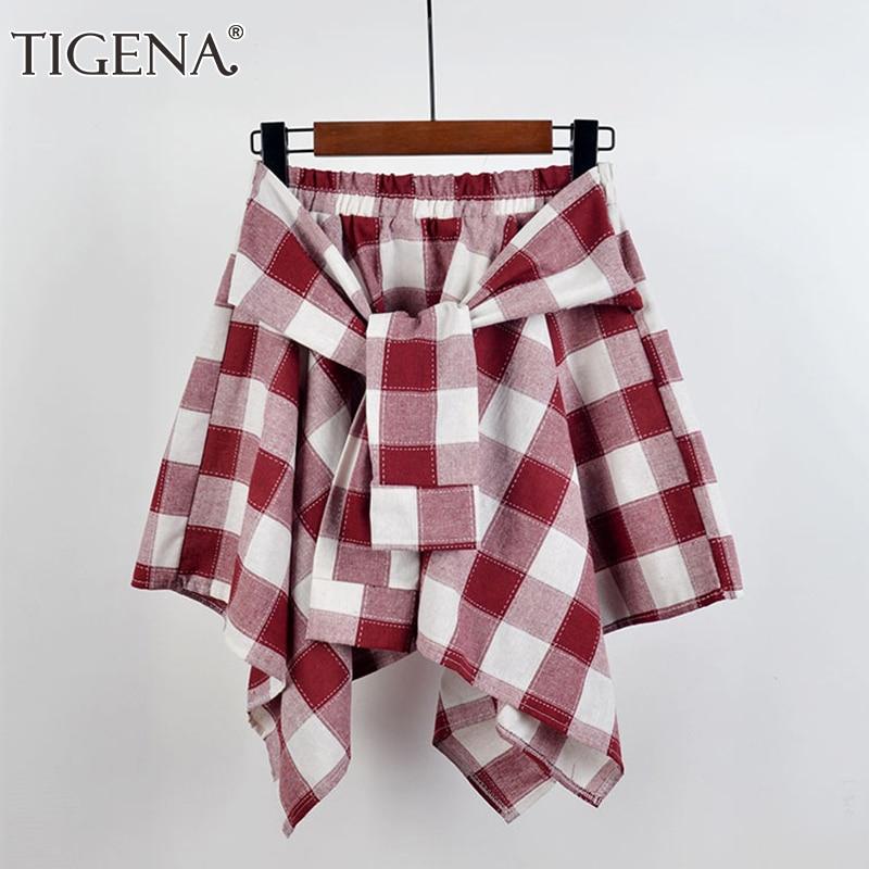 TIGENA Fake 2 Pieces Mini Plaid Skirt Women Fashion 2020 Summer Irregular Hem Checked High Waist Short School Skirt Female