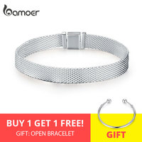 BAMOER Strand Bracelets Hot 925 Sterling Silver Metropolitan Style Women Fashion Bracelets Jewelry Gift 17CM 20CM SCX001