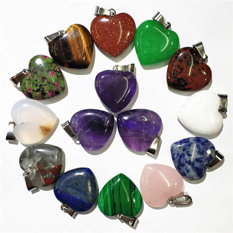 1pcs 20MM Jewelry Accessories Crystal DIY Chakra Heart-shaped Pendant Natural  Couples Necklaces  Reiki Loose Beads Love Fashion